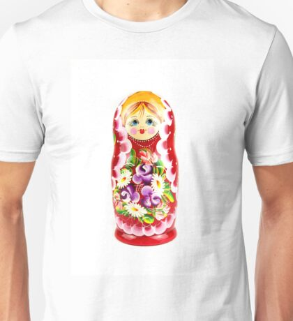 Russian doll matrioshka on a white background Unisex T-Shirt