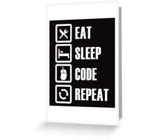 Eat Sleep Code Repeat Greeting Card