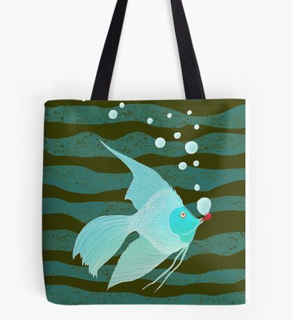 Bubble Fish Red Pipe Tote Bag
