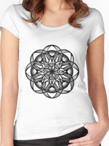 Seed of Life Mandala Pen and Ink Texture Women's Fitted Scoop T-Shirt