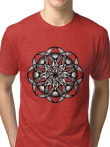 Seed of Life Mandala Pen and Ink Texture Tri-blend T-Shirt