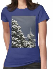 Snow Covered Trees Womens Fitted T-Shirt