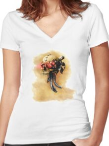 Maniacal Skull  Women's Fitted V-Neck T-Shirt