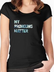 My Pronouns Matter (Blue Watercolor) Women's Fitted Scoop T-Shirt