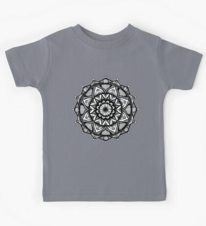 Traditional Lotus Mandala Pen and Ink Kids Tee