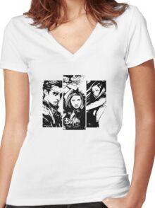 B&W BtVS Trio Women's Fitted V-Neck T-Shirt