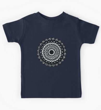 Traditional Floral Mandala Repetition Pen and Ink Design Kids Tee