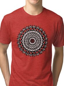 Traditional Floral Mandala Repetition Pen and Ink Design Tri-blend T-Shirt
