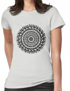 Traditional Floral Mandala Repetition Pen and Ink Design Womens Fitted T-Shirt