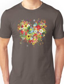 Floral heart with flowers Unisex T-Shirt