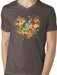 Floral heart with flowers Mens V-Neck T-Shirt