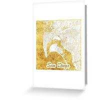 San Diego Map Gold Greeting Card