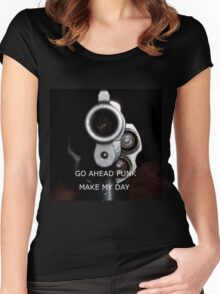 Go Ahead Punk, Make My Day Women's Fitted Scoop T-Shirt