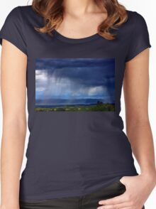 Summer storm over Volvi lake - Thessaloniki Women's Fitted Scoop T-Shirt
