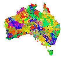 Australia Watercolor Map Photographic Print