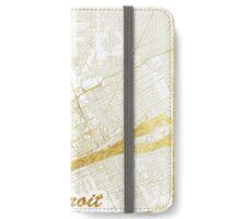 Detroit Map Gold iPhone Wallet/Case/Skin