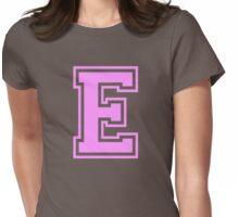 College letter E in pink Womens Fitted T-Shirt