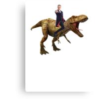 Capaldi on a Dinosaur Canvas Print