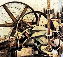 Wheels and Gears in Grist Mill by Susan Savad