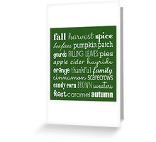 Fall Celebration in Green Greeting Card
