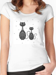 Black Cat Illustration Women's Fitted Scoop T-Shirt