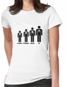 Optimist, Pessimist, Realist, Pilot Womens Fitted T-Shirt