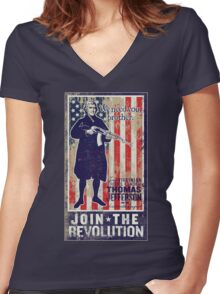 Jefferson Revolution Propaganda Women's Fitted V-Neck T-Shirt
