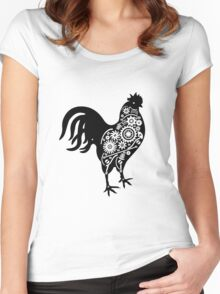 Steampunk rooster Women's Fitted Scoop T-Shirt
