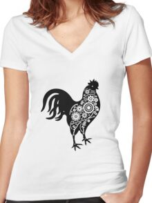 Steampunk rooster Women's Fitted V-Neck T-Shirt