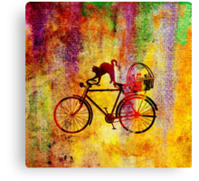 Cat and Bicycle Canvas Print