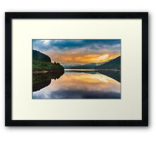 Lake Oasa at sunset in Romania Framed Print