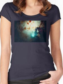 Spooky Forest and Dark Witch Women's Fitted Scoop T-Shirt