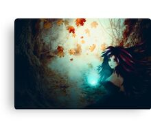 Spooky Forest and Dark Witch Canvas Print