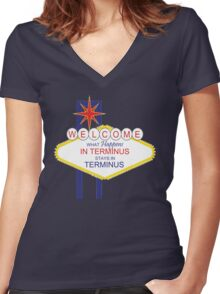 What Happens in Terminus...2 - The Walking Dead Women's Fitted V-Neck T-Shirt