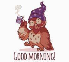 Woken owl in the nightcap with a cup of coffee. Baby Tee