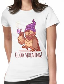 Woken owl in the nightcap with a cup of coffee. Womens Fitted T-Shirt