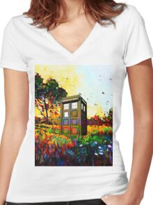 Tardis A Beauty Women's Fitted V-Neck T-Shirt
