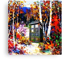 tardis in the forest art Canvas Print