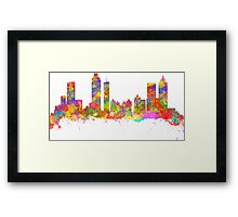 Watercolor art print of the skyline of Atlanta Georgia USA Framed Print