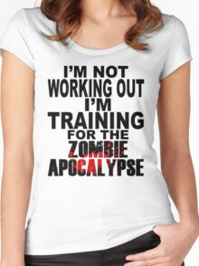 Training For The Zombie Apocalypse (dark text) Women's Fitted Scoop T-Shirt