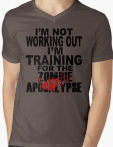 Training For The Zombie Apocalypse (dark text) Mens V-Neck T-Shirt
