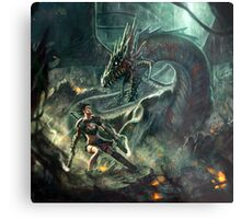Face a Dragon by Charro Metal Print