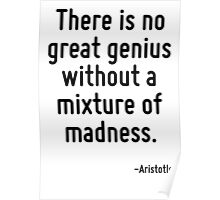 There is no great genius without a mixture of madness. Poster
