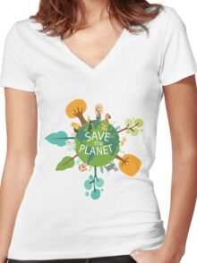 Save the Planet Women's Fitted V-Neck T-Shirt