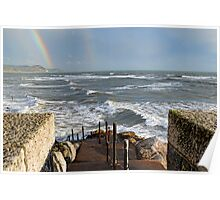 Choppy Seas, Rainbows Must Be Winter-;Lyme, Dorset. Uk Poster