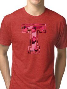 College letter T with hearts pattern Tri-blend T-Shirt