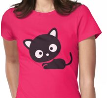 Cute Kitty Cat Cartoon Silhouette (Whatcha Lookin At?) Womens Fitted T-Shirt