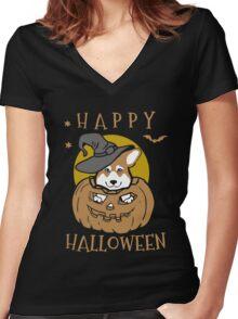 Love Corgis love halloween Tshirt Women's Fitted V-Neck T-Shirt