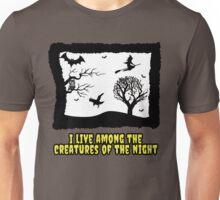 creatures of the night laura branigan pop music halloween scary owl bat crow witch 80s illustration dark Unisex T-Shirt