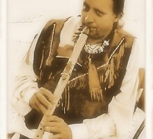 Native American Indian on Flute by © Bob Hall